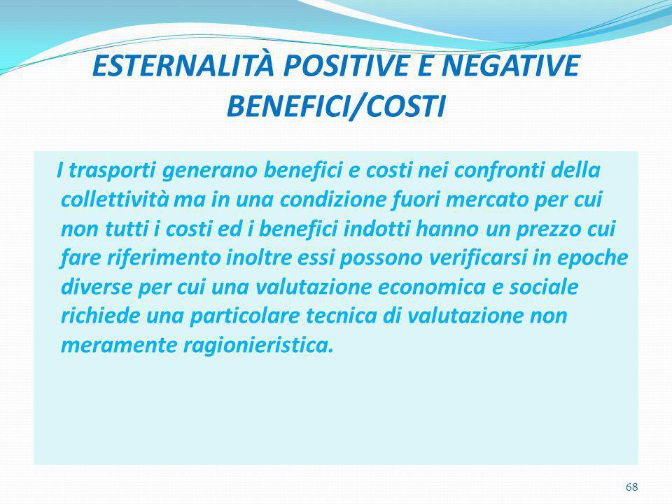 ESTERNALITÀ POSITIVE E NEGATIVE BENEFICI/COSTI I trasporti generano benefici e costi nei confronti della collettività ma in una condizione fuori merca