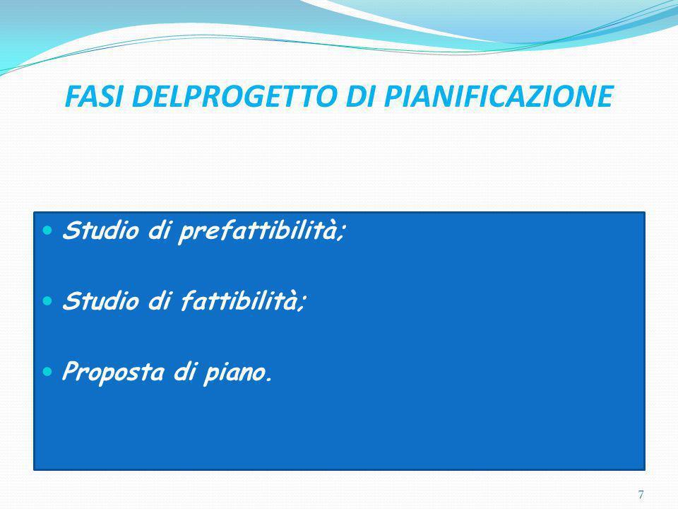 FASI DELPROGETTO DI PIANIFICAZIONE Studio di prefattibilità; Studio di fattibilità; Proposta di piano. 7