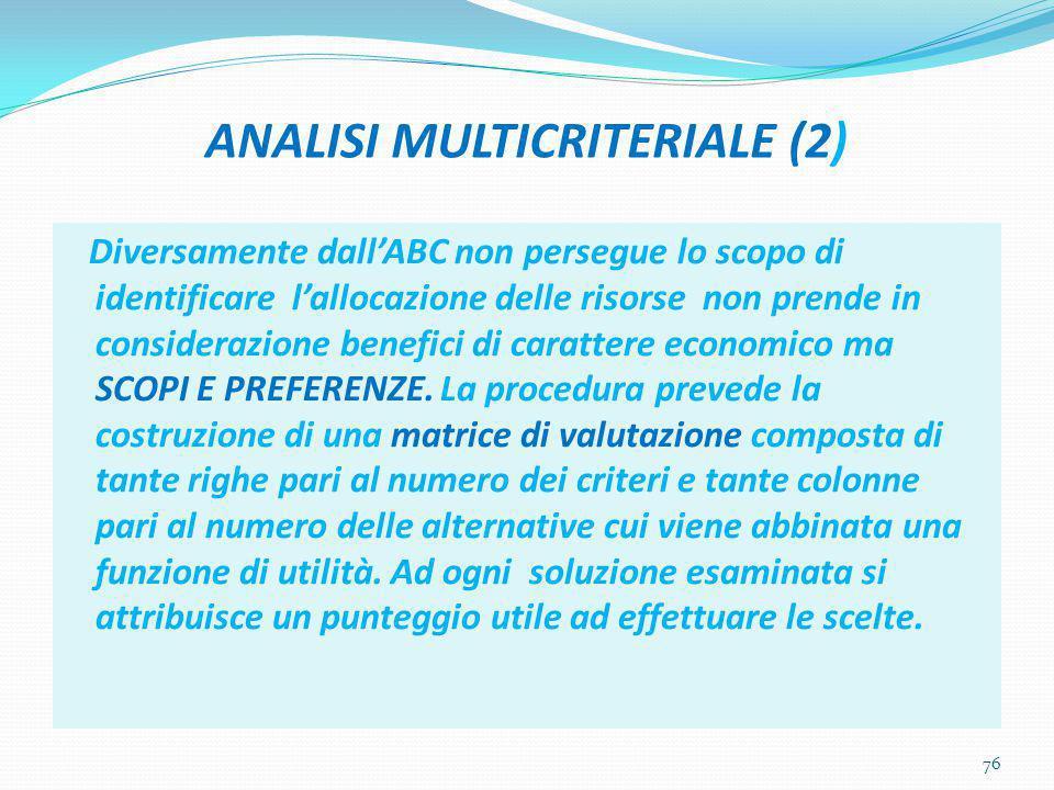 ANALISI MULTICRITERIALE (2) Diversamente dall'ABC non persegue lo scopo di identificare l'allocazione delle risorse non prende in considerazione benef