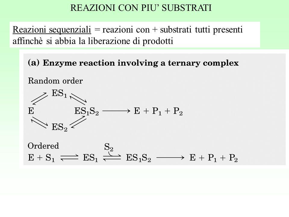Reazioni sequenziali = reazioni con + substrati tutti presenti affinchè si abbia la liberazione di prodotti REAZIONI CON PIU' SUBSTRATI