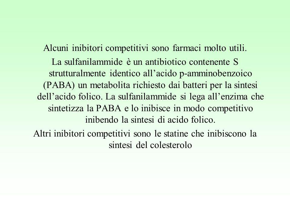 Alcuni inibitori competitivi sono farmaci molto utili. La sulfanilammide è un antibiotico contenente S strutturalmente identico all'acido p-amminobenz