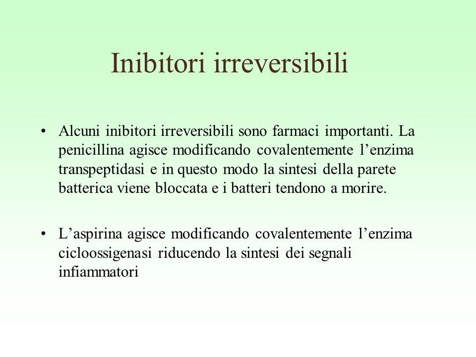 Inibitori irreversibili Alcuni inibitori irreversibili sono farmaci importanti. La penicillina agisce modificando covalentemente l'enzima transpeptida