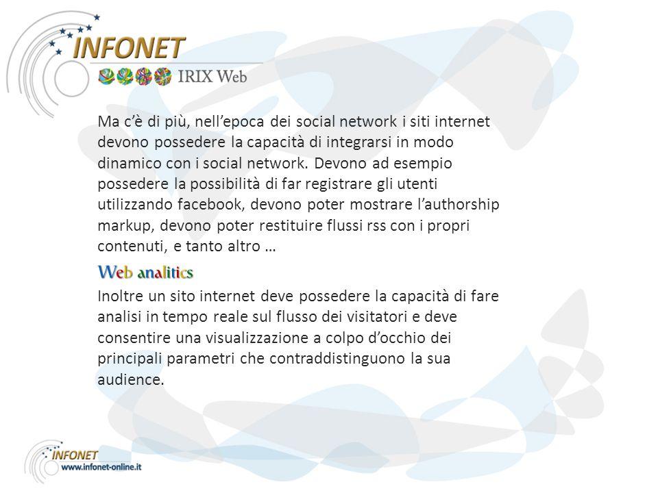 Ma c'è di più, nell'epoca dei social network i siti internet devono possedere la capacità di integrarsi in modo dinamico con i social network.