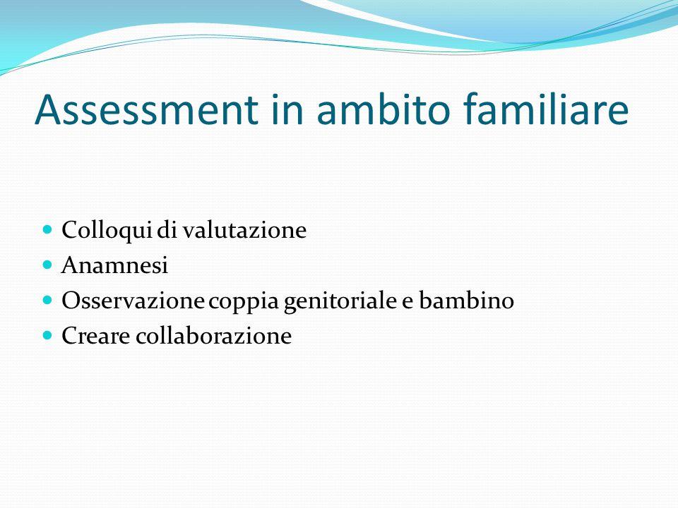Assessment in ambito familiare Colloqui di valutazione Anamnesi Osservazione coppia genitoriale e bambino Creare collaborazione