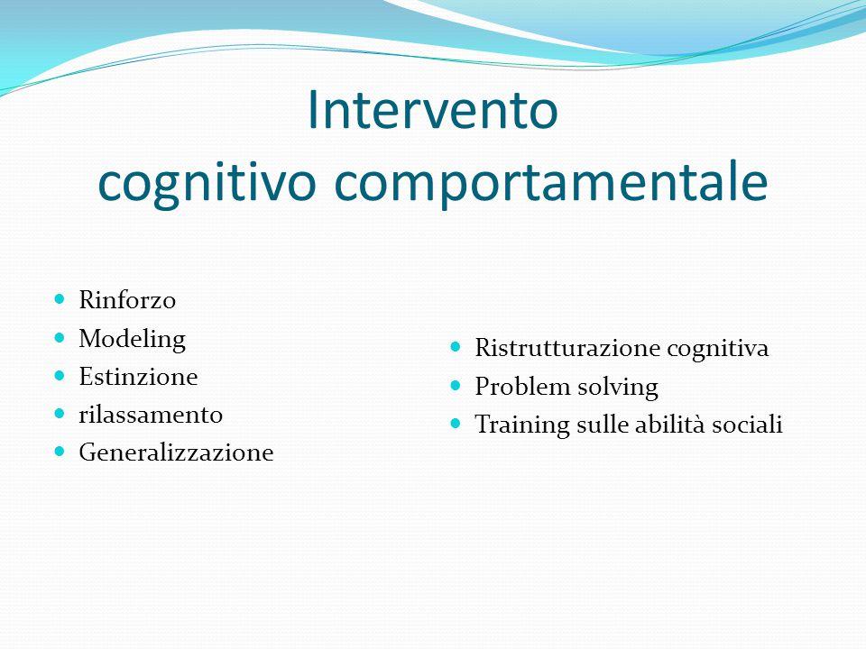 Intervento cognitivo comportamentale Rinforzo Modeling Estinzione rilassamento Generalizzazione Ristrutturazione cognitiva Problem solving Training su