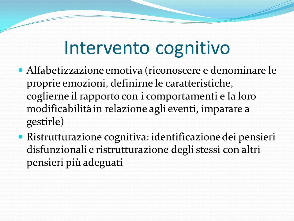 Intervento cognitivo Alfabetizzazione emotiva (riconoscere e denominare le proprie emozioni, definirne le caratteristiche, coglierne il rapporto con i