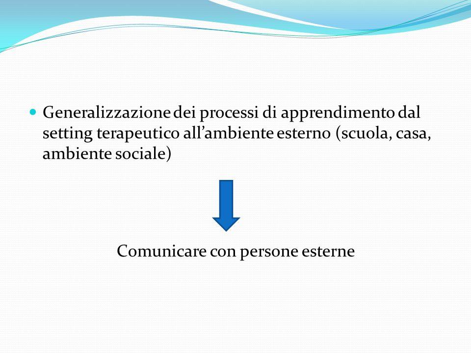 Generalizzazione dei processi di apprendimento dal setting terapeutico all'ambiente esterno (scuola, casa, ambiente sociale) Comunicare con persone es