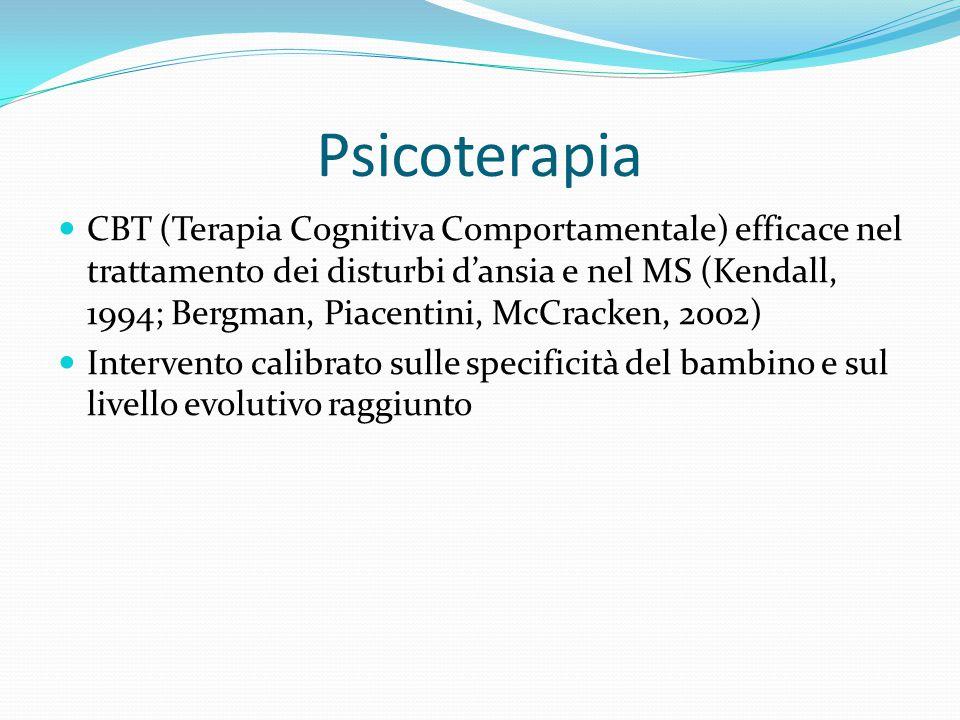 Psicoterapia CBT (Terapia Cognitiva Comportamentale) efficace nel trattamento dei disturbi d'ansia e nel MS (Kendall, 1994; Bergman, Piacentini, McCra