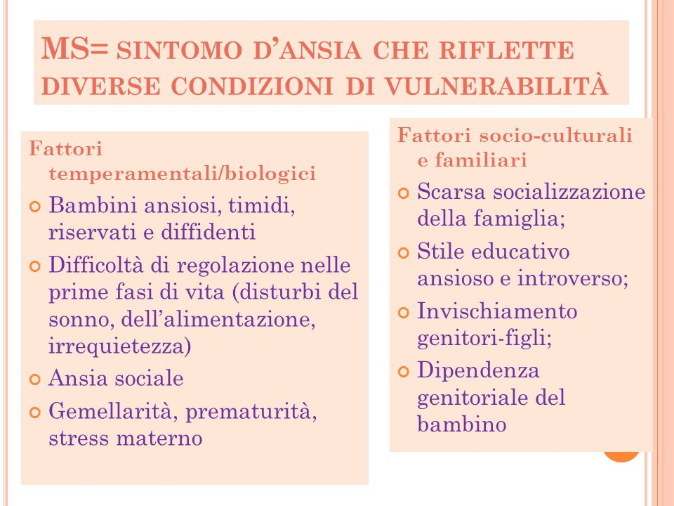 MS= SINTOMO D ' ANSIA CHE RIFLETTE DIVERSE CONDIZIONI DI VULNERABILITÀ Fattori temperamentali/biologici Bambini ansiosi, timidi, riservati e diffident