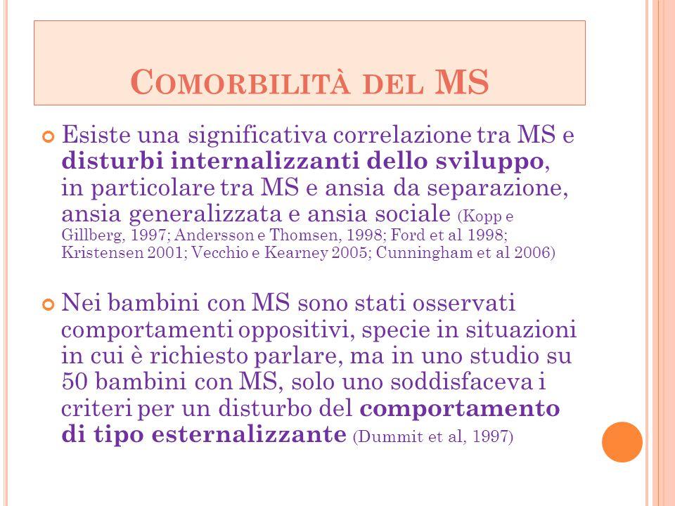 C OMORBILITÀ DEL MS Esiste una significativa correlazione tra MS e disturbi internalizzanti dello sviluppo, in particolare tra MS e ansia da separazio
