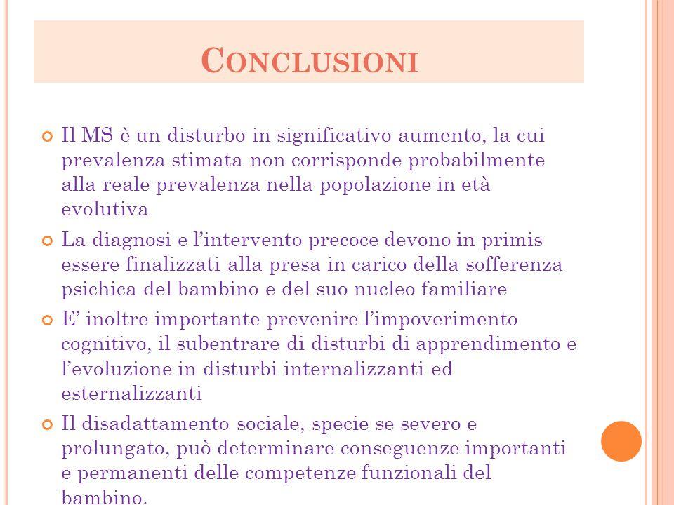 C ONCLUSIONI Il MS è un disturbo in significativo aumento, la cui prevalenza stimata non corrisponde probabilmente alla reale prevalenza nella popolaz