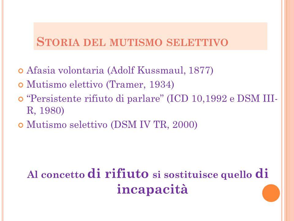 """S TORIA DEL MUTISMO SELETTIVO Afasia volontaria (Adolf Kussmaul, 1877) Mutismo elettivo (Tramer, 1934) """"Persistente rifiuto di parlare"""" (ICD 10,1992 e"""