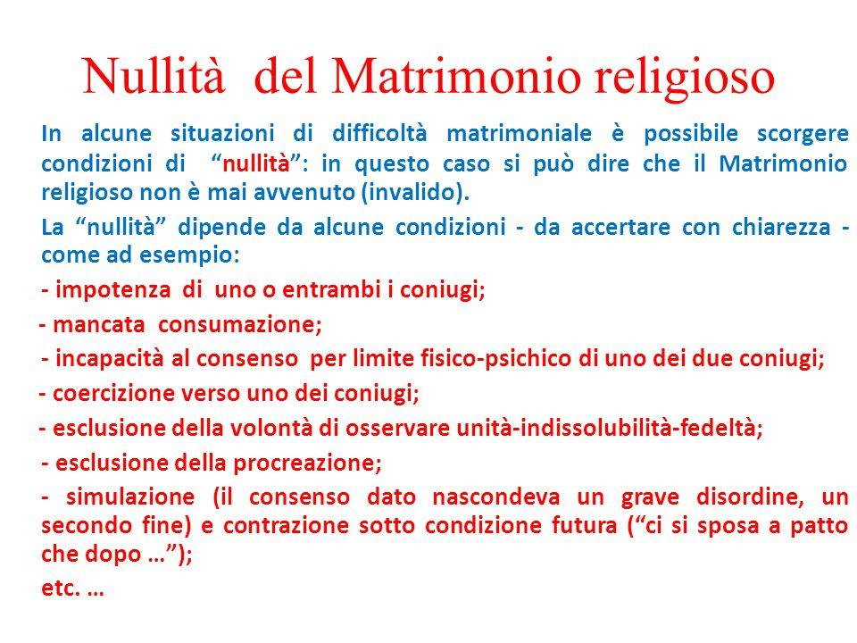 """Nullità del Matrimonio religioso In alcune situazioni di difficoltà matrimoniale è possibile scorgere condizioni di """"nullità"""": in questo caso si può d"""