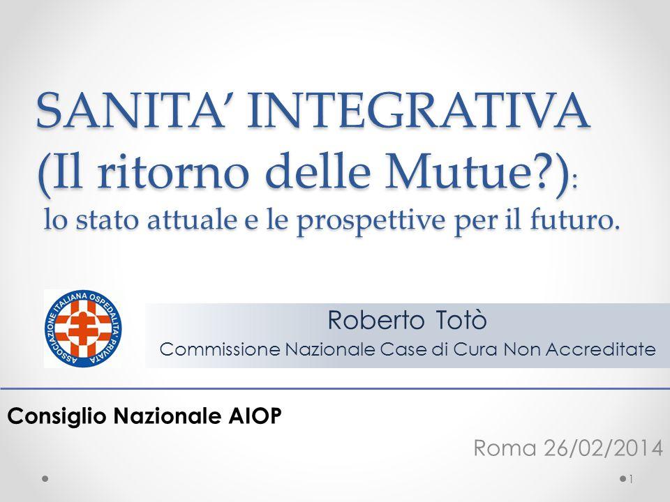 SANITA' INTEGRATIVA (Il ritorno delle Mutue?) : lo stato attuale e le prospettive per il futuro. Consiglio Nazionale AIOP Roma 26/02/2014 1 Roberto To