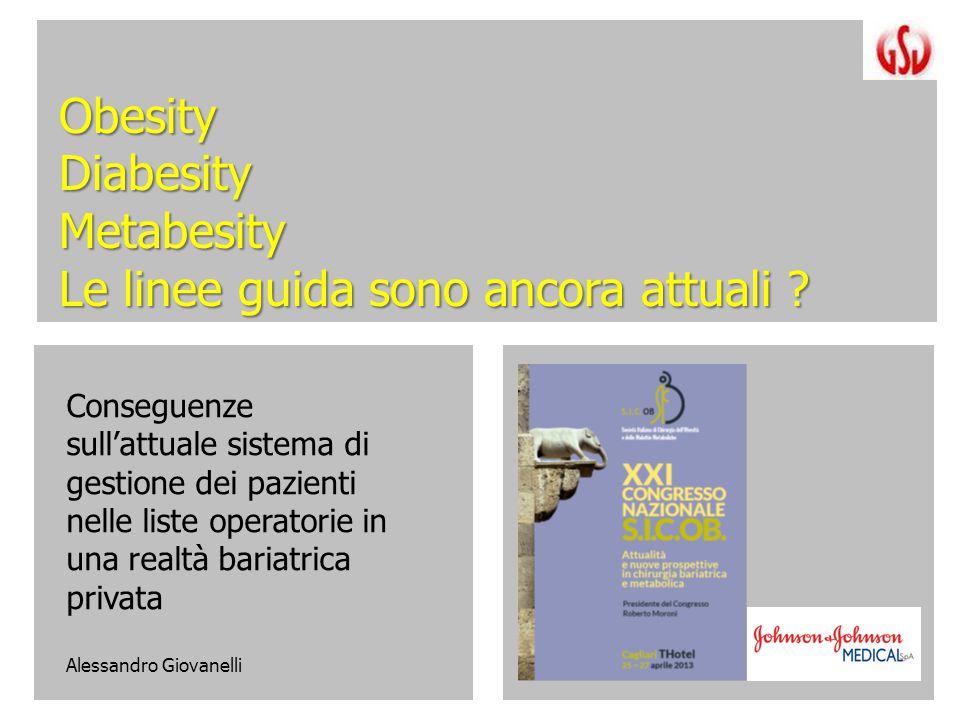 ObesityDiabesityMetabesity Le linee guida sono ancora attuali ? Conseguenze sull'attuale sistema di gestione dei pazienti nelle liste operatorie in un