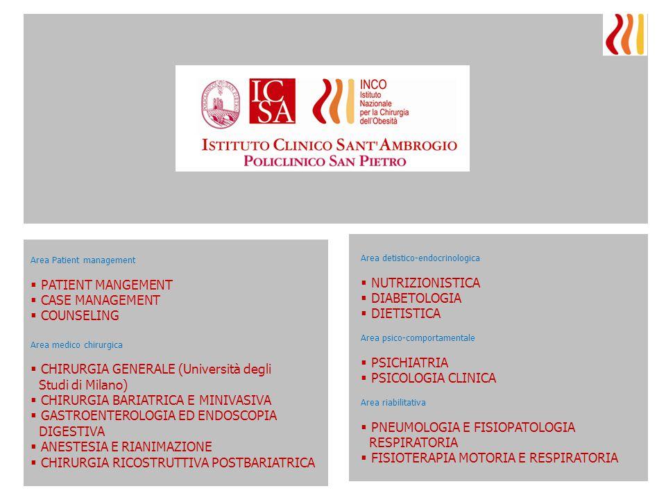 Area detistico-endocrinologica  NUTRIZIONISTICA  DIABETOLOGIA  DIETISTICA Area psico-comportamentale  PSICHIATRIA  PSICOLOGIA CLINICA Area riabil
