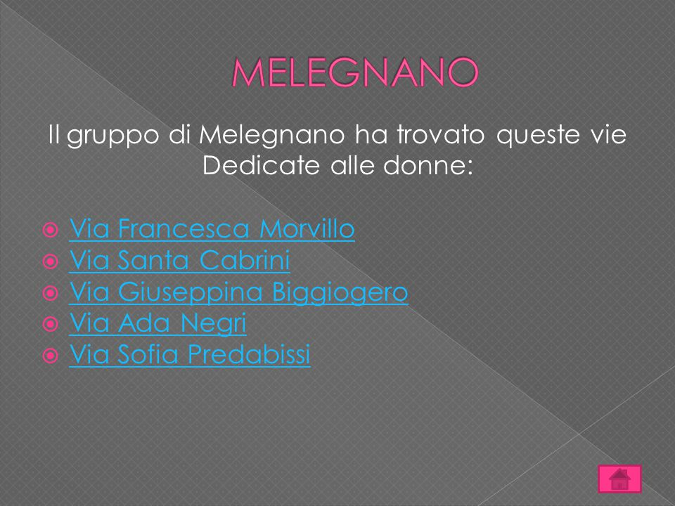 Il gruppo di Melegnano ha trovato queste vie Dedicate alle donne:  Via Francesca Morvillo Via Francesca Morvillo  Via Santa Cabrini Via Santa Cabrin