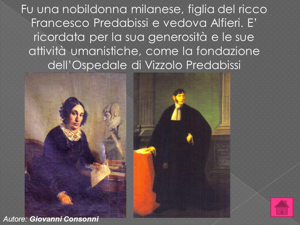Fu una nobildonna milanese, figlia del ricco Francesco Predabissi e vedova Alfieri. E' ricordata per la sua generosità e le sue attività umanistiche,