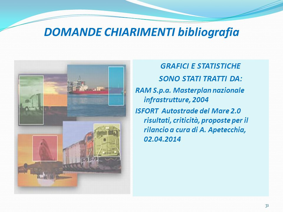 DOMANDE CHIARIMENTI bibliografia GRAFICI E STATISTICHE SONO STATI TRATTI DA: RAM S.p.a. Masterplan nazionale infrastrutture, 2004 ISFORT Autostrade de