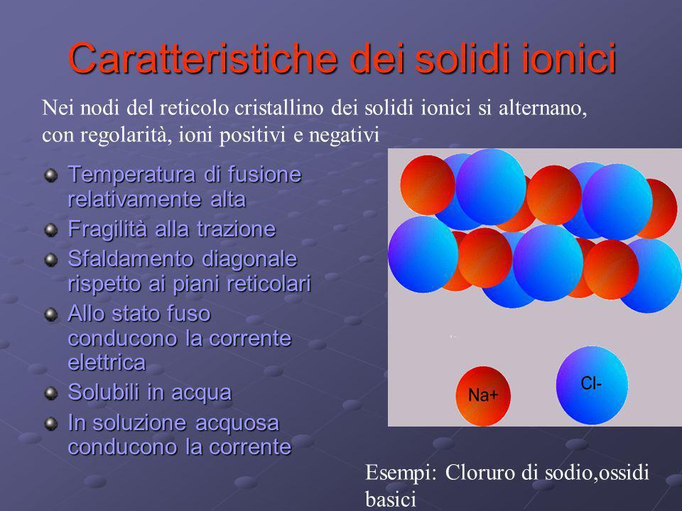 Caratteristiche dei solidi metallici Temperatura di fusione generalmente alta Elevata densità Buona conducibilità termica ed elettrica Lucentezza al taglio Nei nodi del reticolo cristallino dei solidi metallici sono presenti ioni positivi legati da legame metallico.