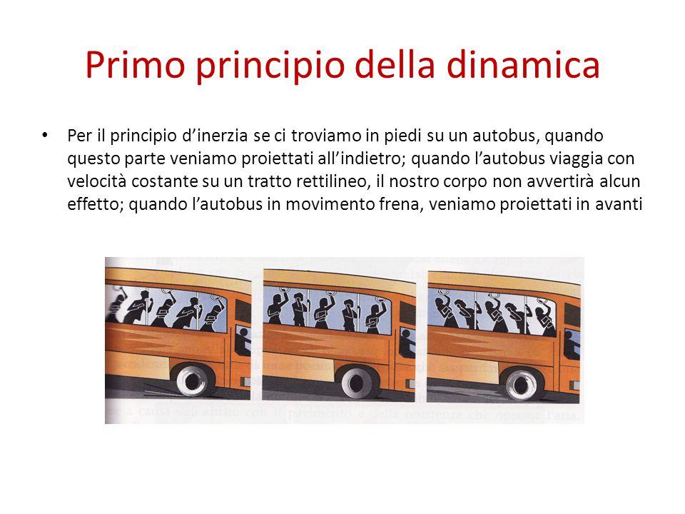 Primo principio della dinamica Per il principio d'inerzia se ci troviamo in piedi su un autobus, quando questo parte veniamo proiettati all'indietro; quando l'autobus viaggia con velocità costante su un tratto rettilineo, il nostro corpo non avvertirà alcun effetto; quando l'autobus in movimento frena, veniamo proiettati in avanti