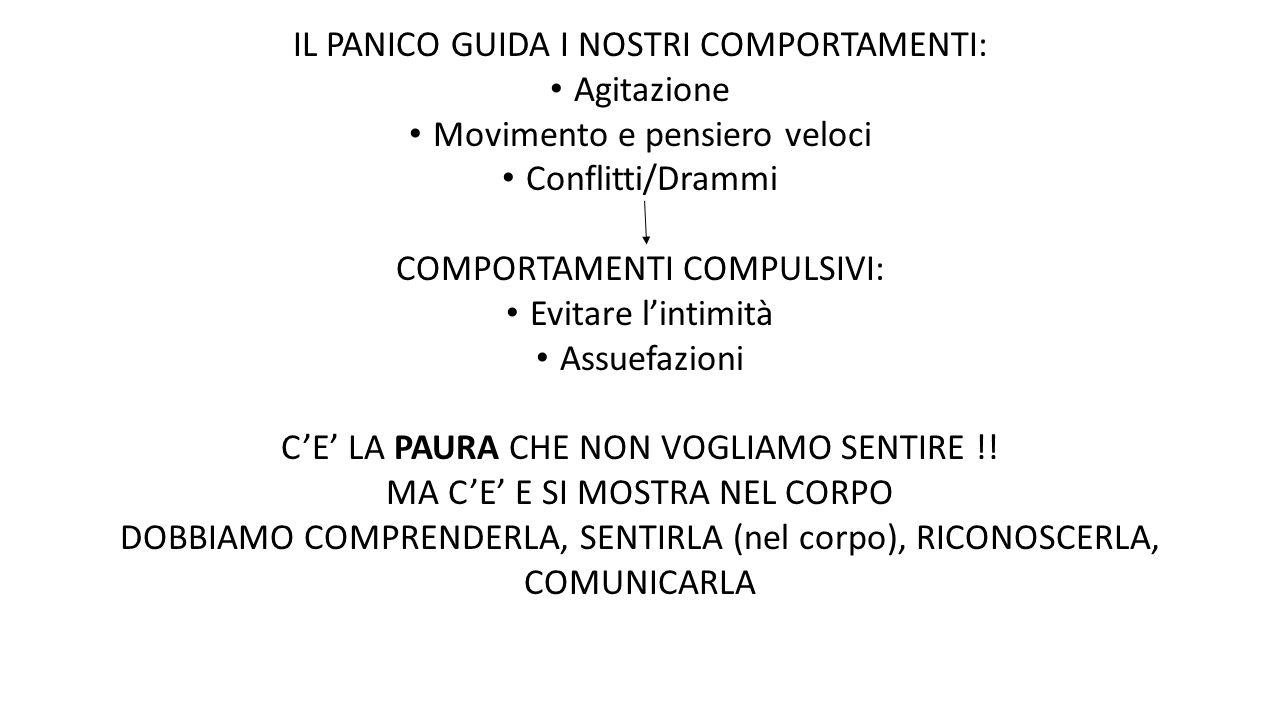 IL PANICO GUIDA I NOSTRI COMPORTAMENTI: Agitazione Movimento e pensiero veloci Conflitti/Drammi COMPORTAMENTI COMPULSIVI: Evitare l'intimità Assuefazi