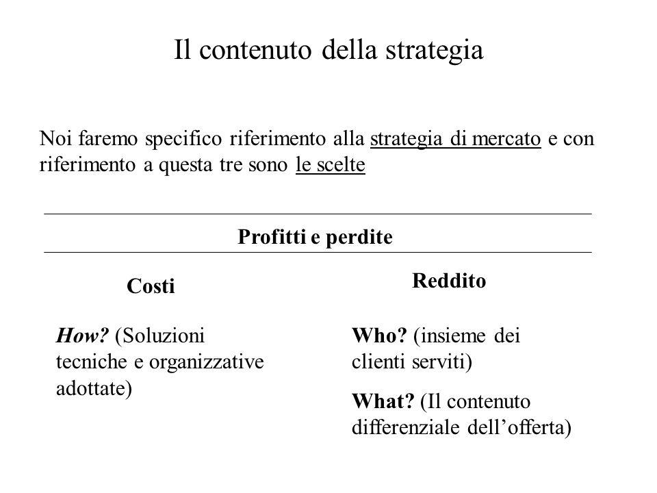 Il contenuto della strategia Noi faremo specifico riferimento alla strategia di mercato e con riferimento a questa tre sono le scelte Profitti e perdite Costi Reddito How.