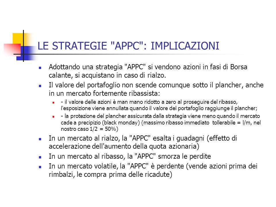 LE STRATEGIE APPC : IMPLICAZIONI Adottando una strategia APPC si vendono azioni in fasi di Borsa calante, si acquistano in caso di rialzo.