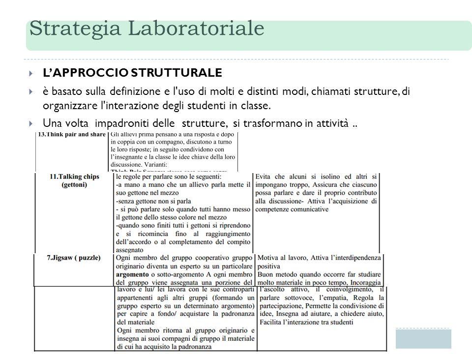 Strategia Laboratoriale  L'APPROCCIO STRUTTURALE  è basato sulla definizione e l'uso di molti e distinti modi, chiamati strutture, di organizzare l'