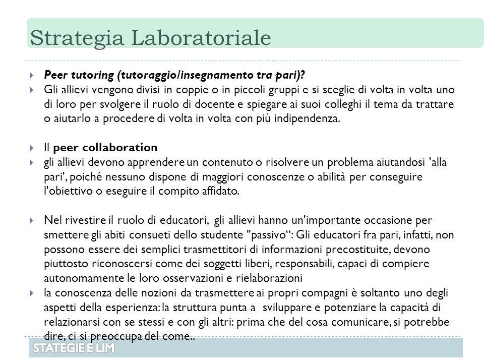 Strategia Laboratoriale  Peer tutoring (tutoraggio/insegnamento tra pari)?  Gli allievi vengono divisi in coppie o in piccoli gruppi e si sceglie di