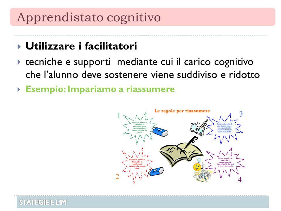 Apprendistato cognitivo  Utilizzare i facilitatori  tecniche e supporti mediante cui il carico cognitivo che l'alunno deve sostenere viene suddiviso