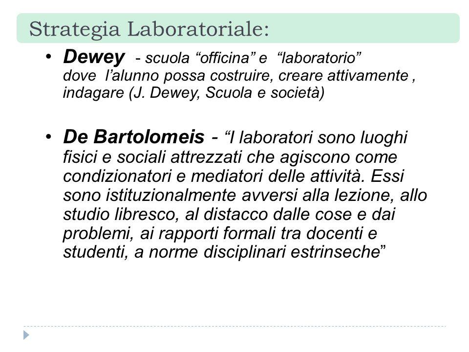 """Dewey - scuola """"officina"""" e """"laboratorio"""" dove l'alunno possa costruire, creare attivamente, indagare (J. Dewey, Scuola e società) De Bartolomeis - """"I"""