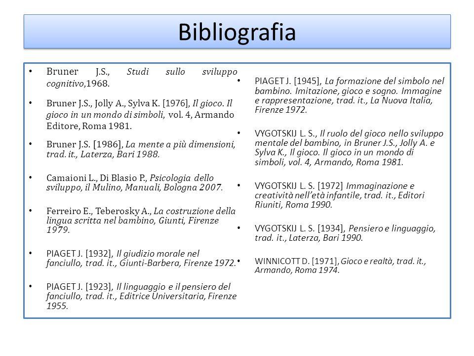 Bibliografia Bruner J.S., Studi sullo sviluppo cognitivo,1968. Bruner J.S., Jolly A., Sylva K. [1976], Il gioco. Il gioco in un mondo di simboli, vol.