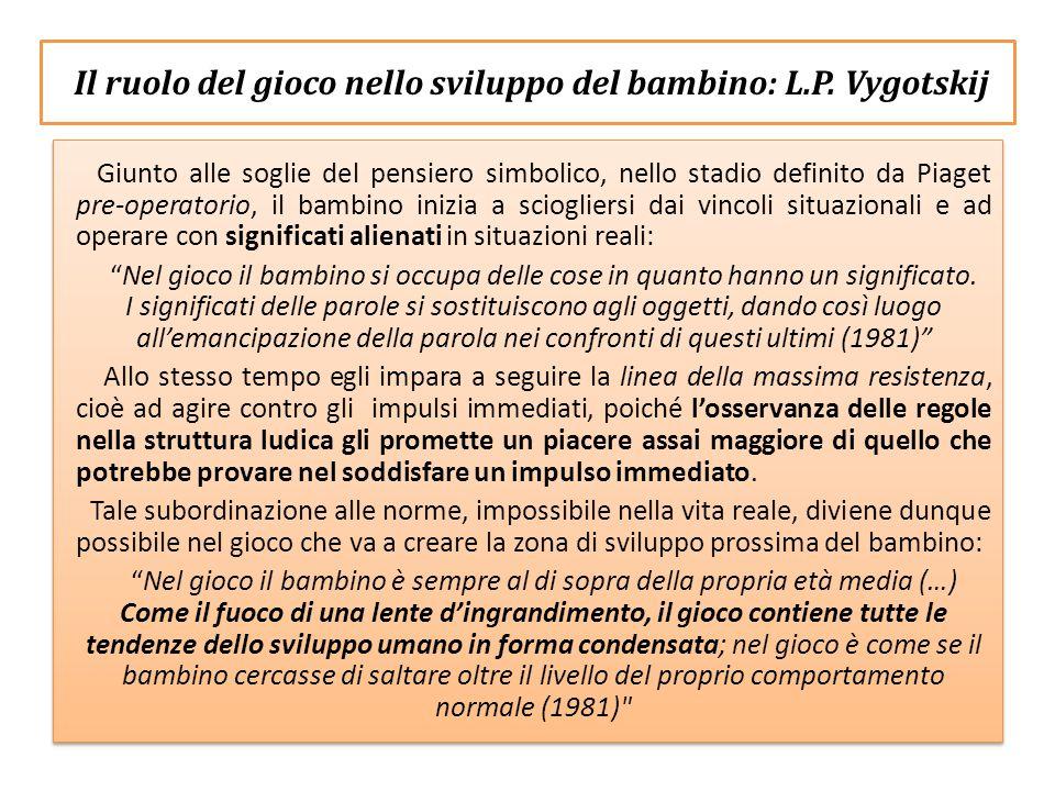 Il ruolo del gioco nello sviluppo del bambino : L.P. Vygotskij Giunto alle soglie del pensiero simbolico, nello stadio definito da Piaget pre-operator