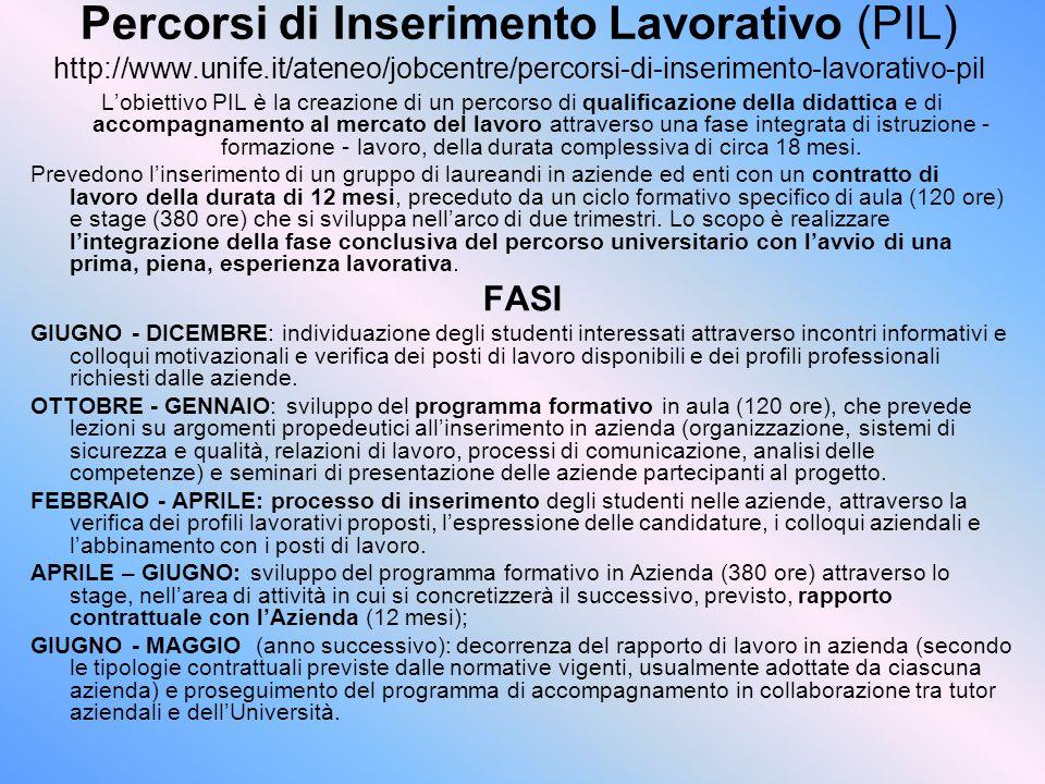 Percorsi di Inserimento Lavorativo (PIL) http://www.unife.it/ateneo/jobcentre/percorsi-di-inserimento-lavorativo-pil L'obiettivo PIL è la creazione di