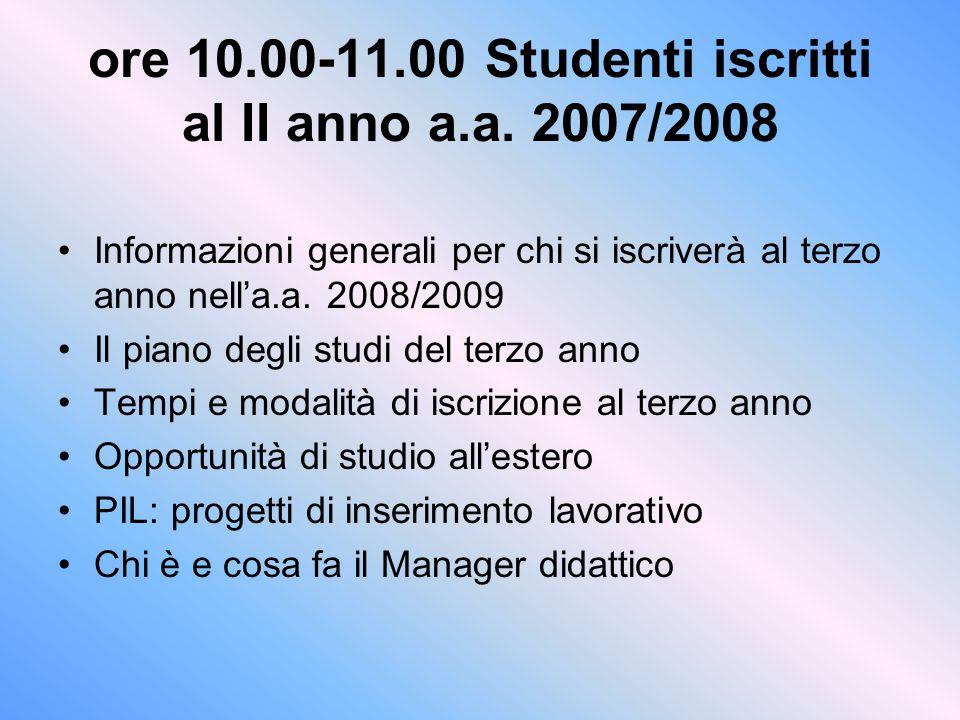 ore 10.00-11.00 Studenti iscritti al II anno a.a. 2007/2008 Informazioni generali per chi si iscriverà al terzo anno nell'a.a. 2008/2009 Il piano degl