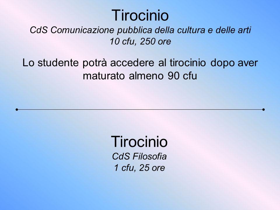 Tirocinio CdS Comunicazione pubblica della cultura e delle arti 10 cfu, 250 ore Lo studente potrà accedere al tirocinio dopo aver maturato almeno 90 c