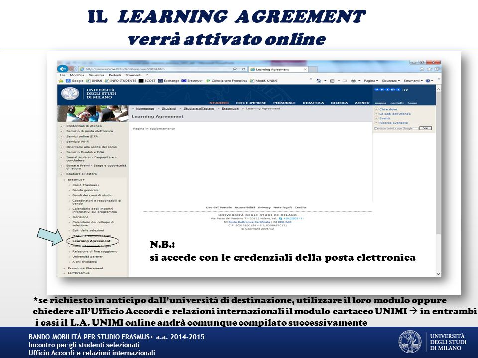 IL LEARNING AGREEMENT verrà attivato online BANDO MOBILITÀ PER STUDIO ERASMUS+ a.a. 2014-2015 Incontro per gli studenti selezionati Ufficio Accordi e