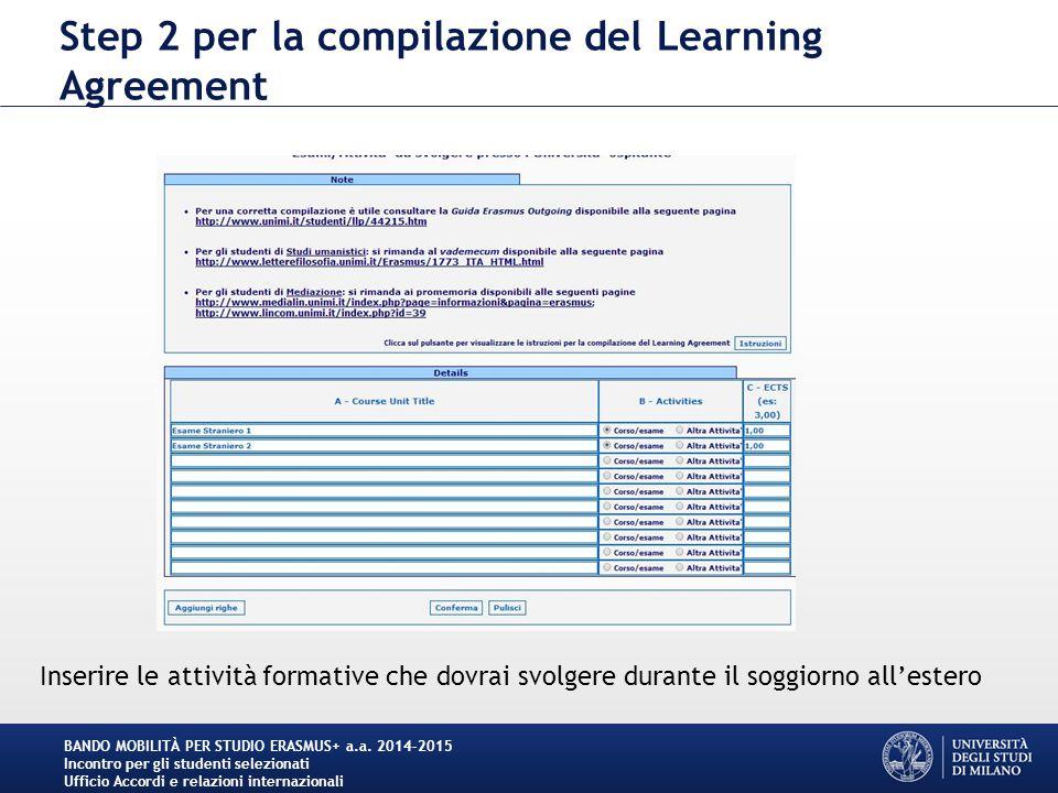 Step 2 per la compilazione del Learning Agreement BANDO MOBILITÀ PER STUDIO ERASMUS+ a.a. 2014-2015 Incontro per gli studenti selezionati Ufficio Acco