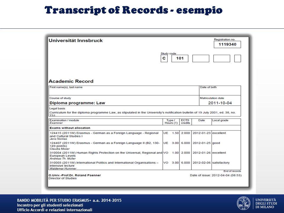 Transcript of Records - esempio BANDO MOBILITÀ PER STUDIO ERASMUS+ a.a. 2014-2015 Incontro per gli studenti selezionati Ufficio Accordi e relazioni in