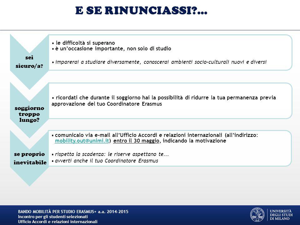 Step 3 per la compilazione del Learning Agreement BANDO MOBILITÀ PER STUDIO ERASMUS+ a.a.