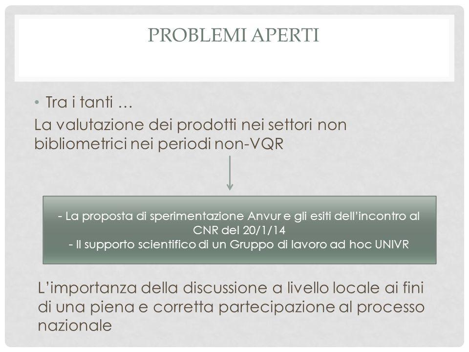 PROBLEMI APERTI Tra i tanti … La valutazione dei prodotti nei settori non bibliometrici nei periodi non-VQR - La proposta di sperimentazione Anvur e g