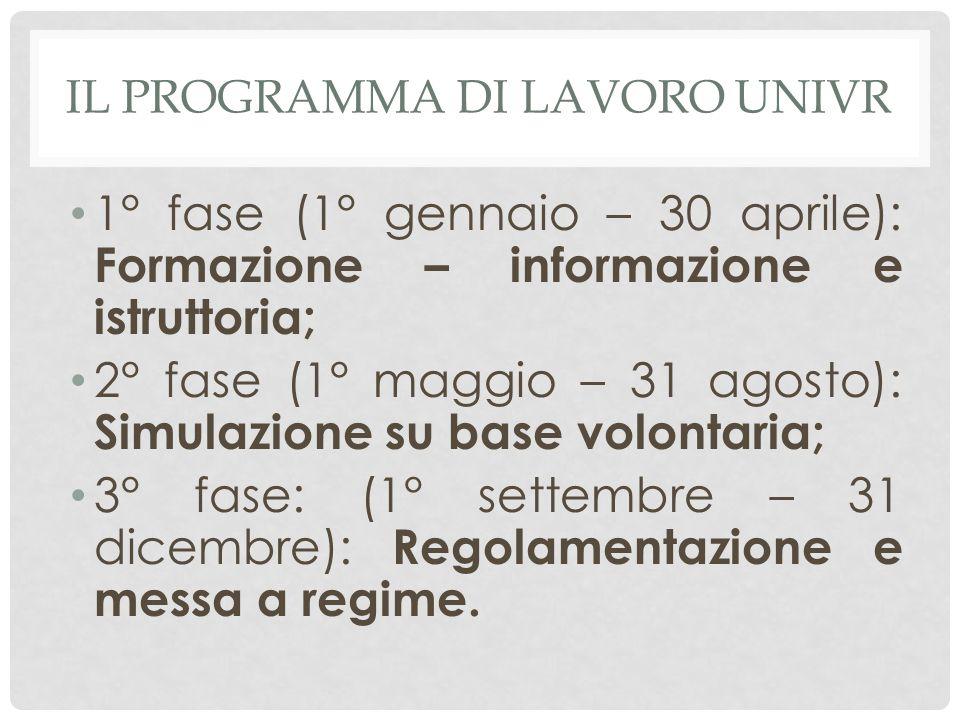 IL PROGRAMMA DI LAVORO UNIVR 1° fase (1° gennaio – 30 aprile): Formazione – informazione e istruttoria; 2° fase (1° maggio – 31 agosto): Simulazione s