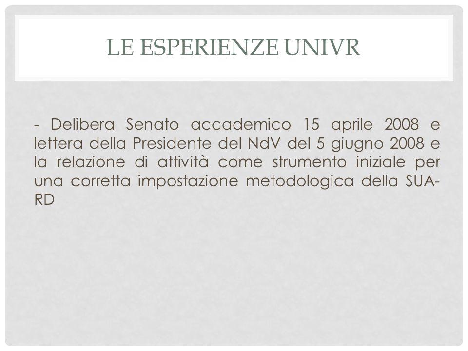 LE ESPERIENZE UNIVR - Delibera Senato accademico 15 aprile 2008 e lettera della Presidente del NdV del 5 giugno 2008 e la relazione di attività come s