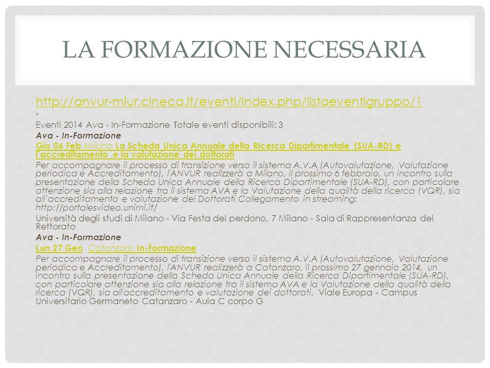 LA FORMAZIONE NECESSARIA http://anvur-miur.cineca.it/eventi/index.php/listaeventigruppo/1 Eventi 2014 Ava - In-Formazione Totale eventi disponibili: 3