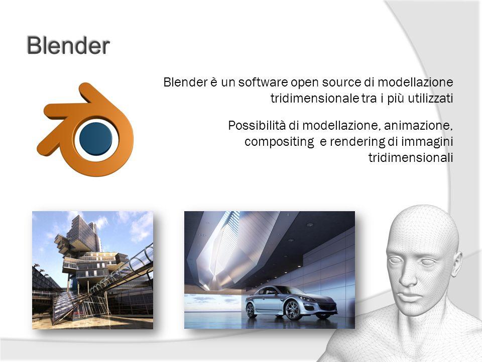Blender Blender è un software open source di modellazione tridimensionale tra i più utilizzati Possibilità di modellazione, animazione, compositing e