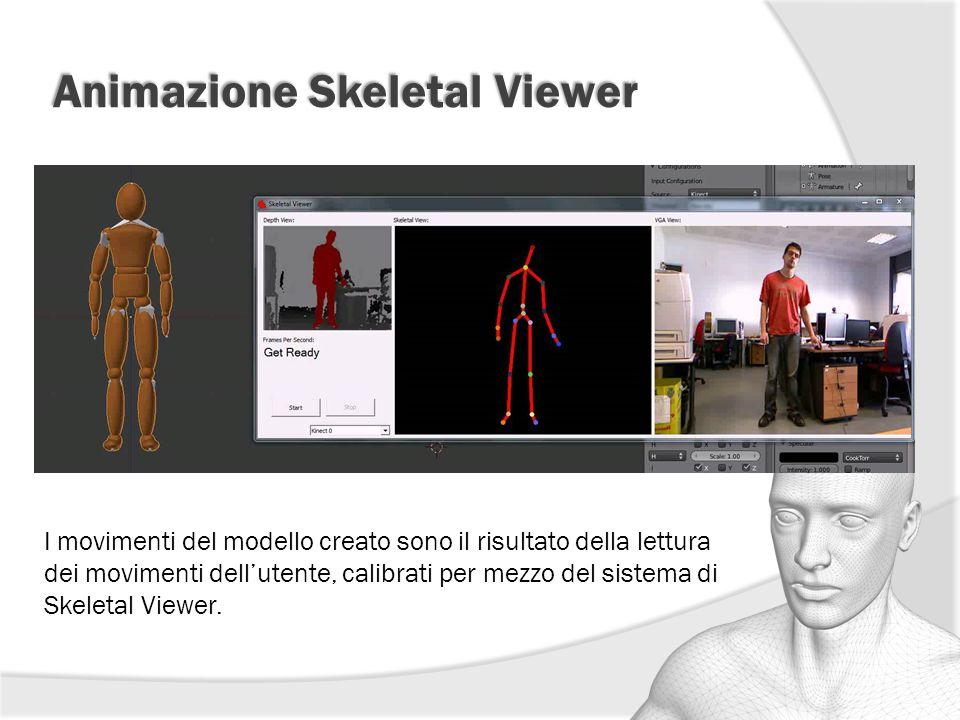Animazione Skeletal Viewer I movimenti del modello creato sono il risultato della lettura dei movimenti dell'utente, calibrati per mezzo del sistema d
