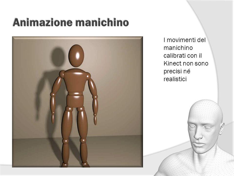 Animazione manichino I movimenti del manichino calibrati con il Kinect non sono precisi né realistici