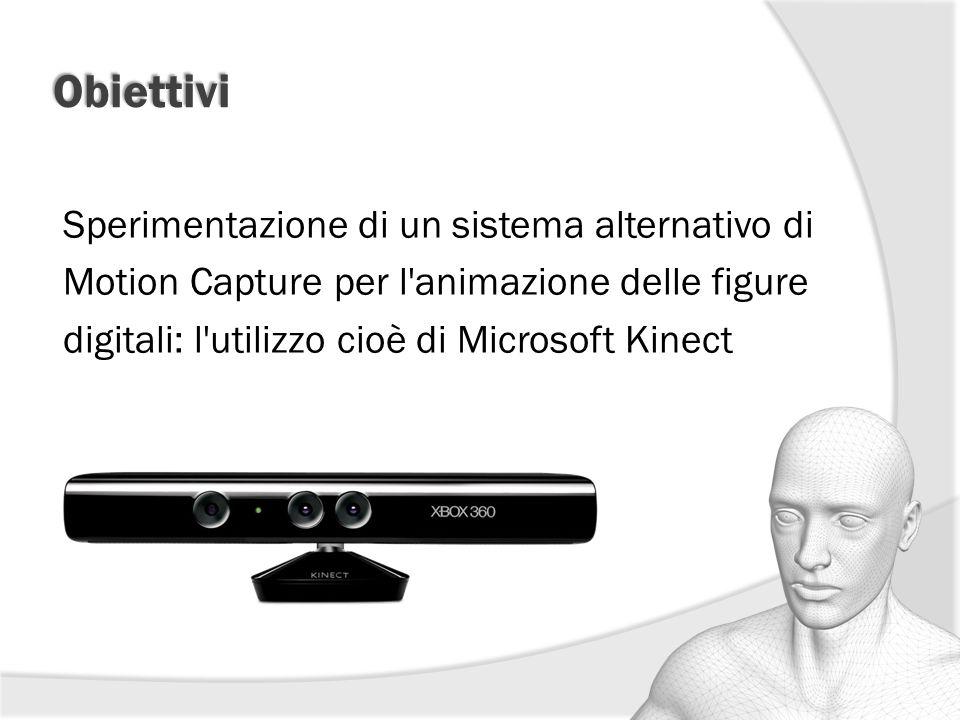 Obiettivi Sperimentazione di un sistema alternativo di Motion Capture per l'animazione delle figure digitali: l'utilizzo cioè di Microsoft Kinect