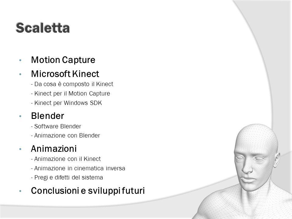 Scaletta Motion Capture Microsoft Kinect - Da cosa è composto il Kinect - Kinect per il Motion Capture - Kinect per Windows SDK Blender - Software Ble